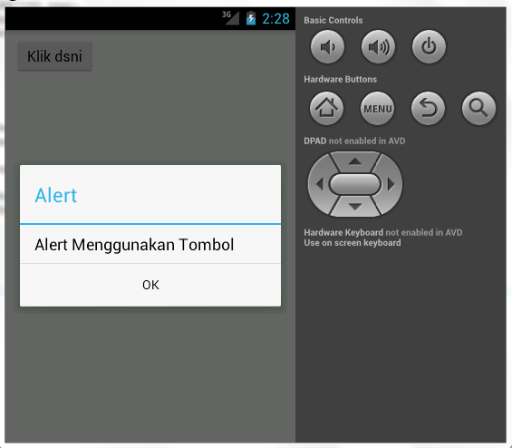 dan hasilnya apaakan muncul alert apabila tombol tersebut di-klik.