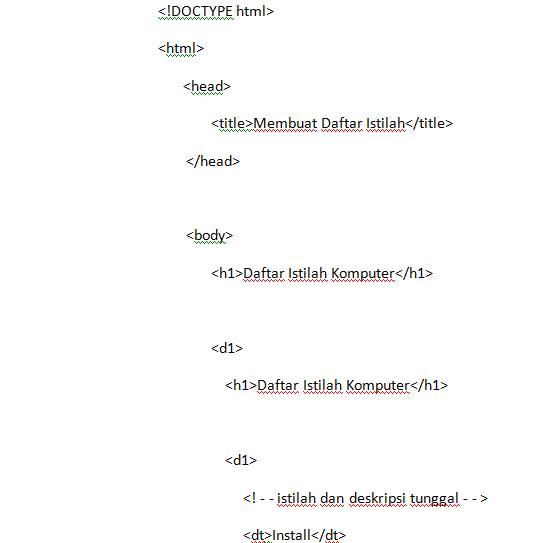 Membuat Daftar Istilah Dan Singkatan Pada HTML5