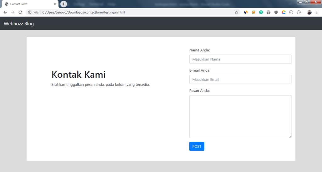 contact form menggunakan bootstrap